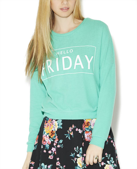 Hello Friday Hacci Sweatshirt | Wet Seal