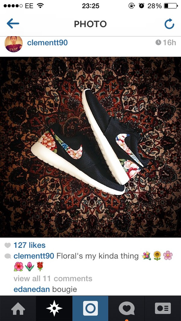shoes floral nike roshe runs trainers fashion