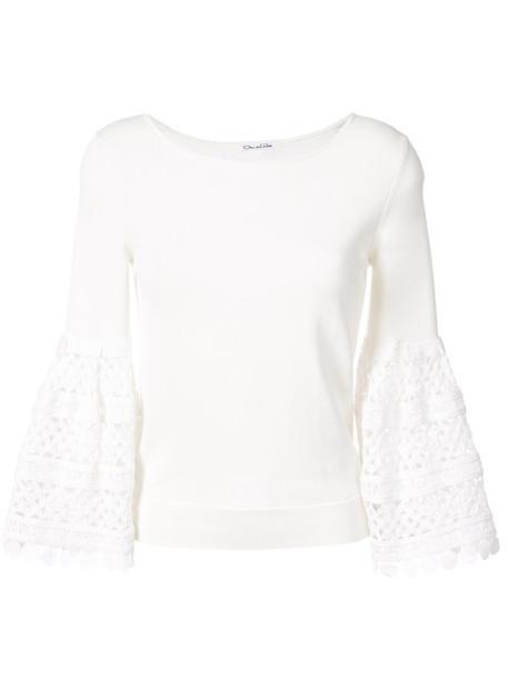 Oscar de la Renta - Birdsnest bell sleeve pullover - women - Cotton - M, White, Cotton