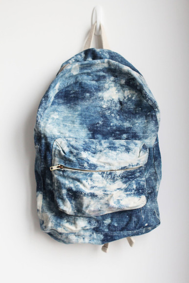 bag backpack acid wash tie dye tumblr blue ocean ocean blue light blue tumblr post dope too dope tumblr fashion white denim back white and blue marble denim indie tye dye bleached backpack tie dye back pack