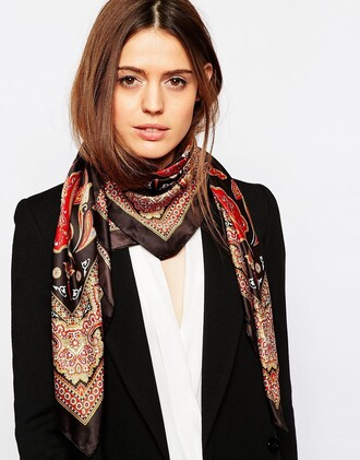 scarf square scarf printed scarf paisley