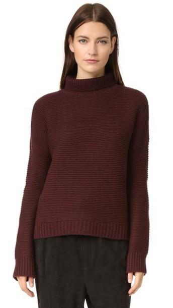 Vince Cowl Horizontal Rib Sweater - Cordovan