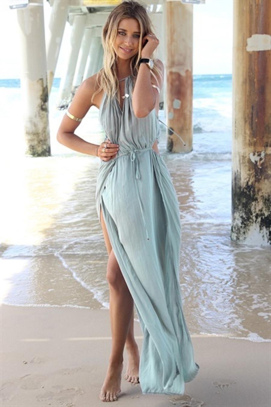 Blue sleeveless halter draped maxi