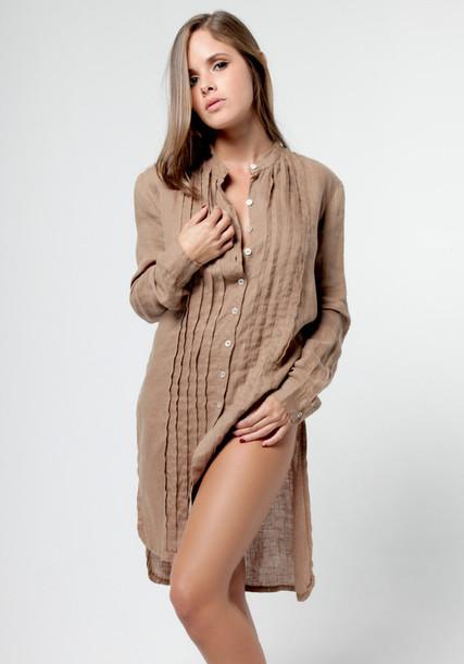 6377d257518 dress claudio milano tunic tunic dress shirt dress pleated pleated dress  khaki womens linen shirts womens