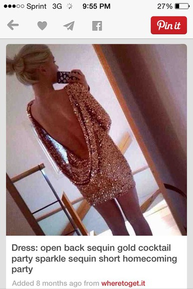backless glitter sequins homecoming dress cocktail drape