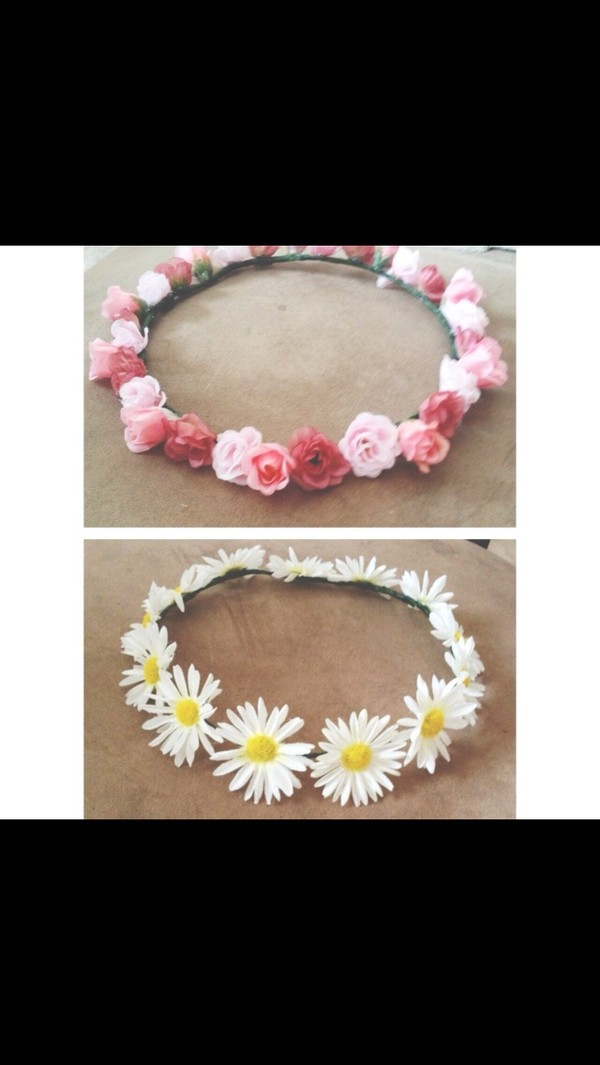 jewels floral flower headband yellow pink