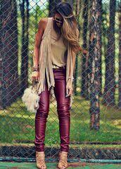pants,red,leather pants,blonde hair,fur bag,fur,fur pouch,tie dye,sandal heels,furry pouch