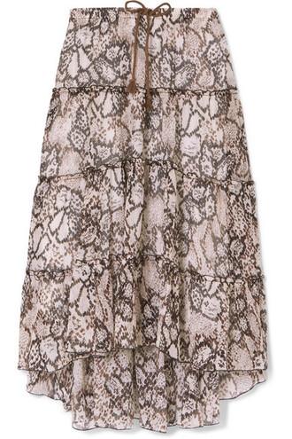 skirt midi skirt midi light cotton silk brown