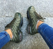 shoes,air max,nike,sneakers,olive green,olive green nike,nike tns khaki,nike shoes,green,green nike sneakers