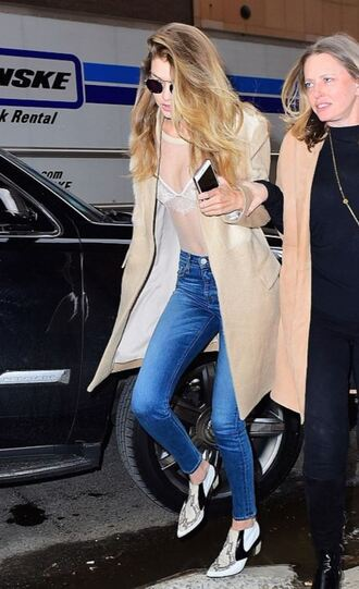 underwear top lace see through jeans coat spring outfits ankle boots gigi hadid
