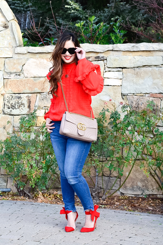 sandy a la mode blogger sweater jeans shoes sunglasses bag red blouse gucci bag red heels fall outfits