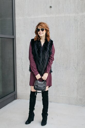 themiddlepage blogger dress jacket shoes jewels bag sunglasses thigh high boots boots vest mini dress black fur vest
