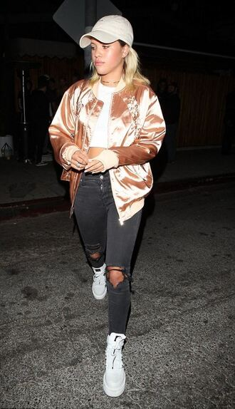jacket satin satin bomber ripped jeans sneakers top streetstyle cap sofia richie beige baseball hat