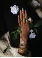 jewels,jewelry,gold,tumblr,ring,bracelets,silver bracelet,flowers,earth,gold ring,gold mid finger rings,lotus flower,rhinestones,hippie,bohemian,bohemian bracelet