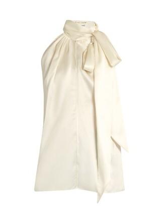 blouse sleeveless silk satin cream top