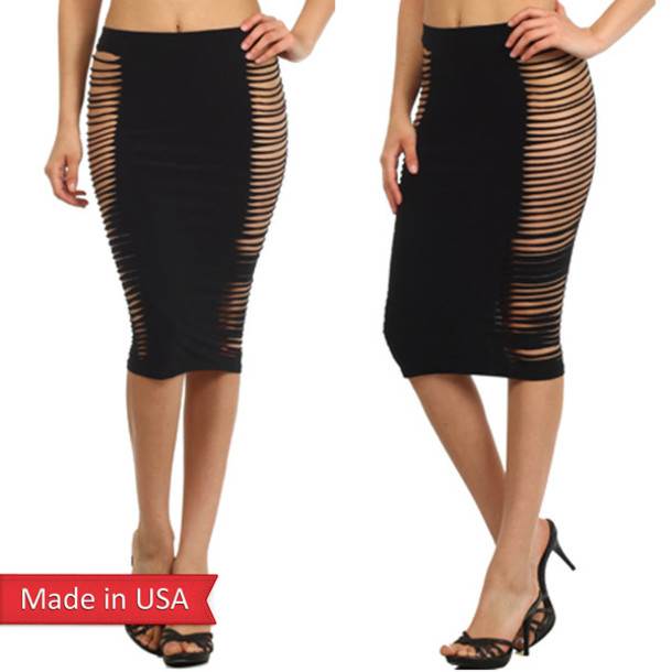 Skirt: cut-out, side cut out, peekaboo, ripped, goth hipster ...