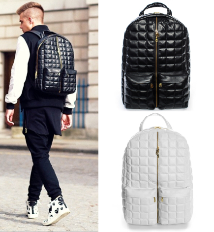 Unique cool quilted leather backpack swag brand designer white kanye west hip hop laptop travel college book bags pyrex bookbags on aliexpress.com