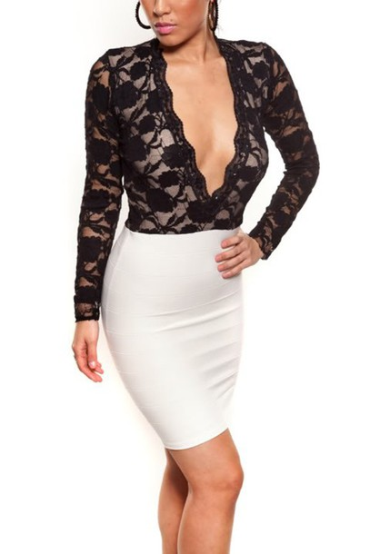 cc10b1aa41493 jaide lace dress black lace dress v neck dress low cut dress Jessica  Burciaga clothes blouse