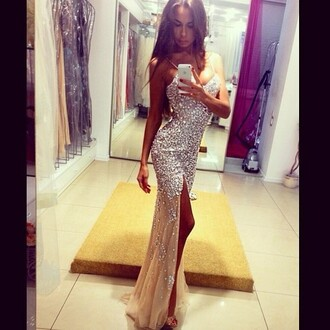 dress prom dress long prom dress champagne sparkly diamonds girl tanned