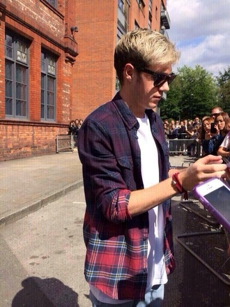 blouse niall horan flannel flannel shirt one direction menswear shirt niall horan plad fade