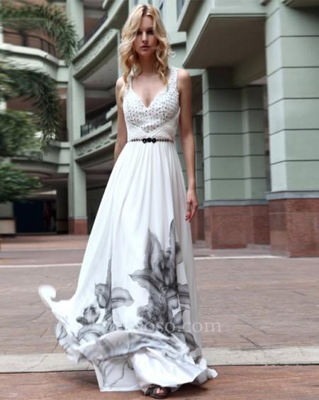 Neck backless long prom dress dlq024