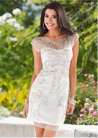 dress mesh sheer white silver embroider sequins short sleeve