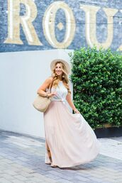 januaryhart,blogger,skirt,tank top,top,hat,bag,jewels,shoes,maxi skirt,pleated skirt,summer hat,blogger style,tote bag,wedges