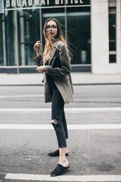 shoes,glasses,grey blazer,black ripped jeans,black mules,blogger