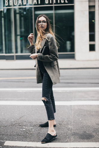 shoes glasses grey blazer black ripped jeans black mules blogger