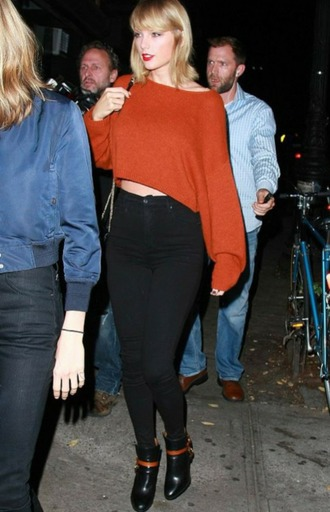 sweater taylor swift crop tops crop cropped sweater cropped orange orange sweather oversized sweater oversized streetstyle fall colors fall sweater fall outfits rust burnt orange shirt