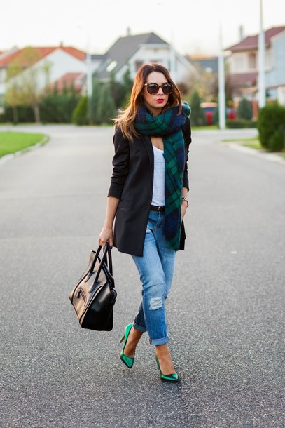 cashmere in style jacket scarf t-shirt jeans shoes bag sunglasses