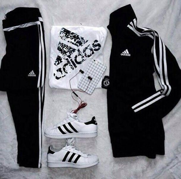 0b1619274c2 jacket adidas pretty shoes cute phone cover tumblr adidas superstars shirt  black white jumpsuit