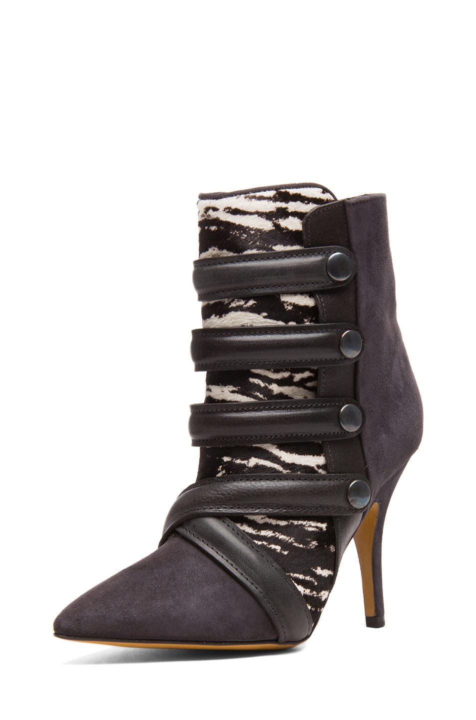 Isabel Marant Tacy Goat Suede Leather Pony Booties in Anthracite