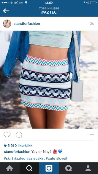 skirt aztec print skirt blue skirt