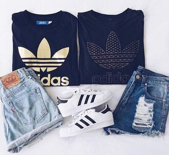 shirt ripped jean shorts adidas shorts summer summer outfits spring black and white blue denim shorts ripped shorts adidas t-shirt sweater black