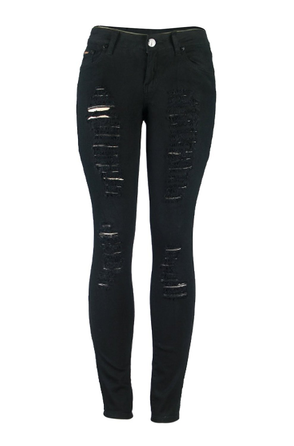 Women's Distressed Skinny Jeans Black 7 (G778A) at Amazon Women's ...