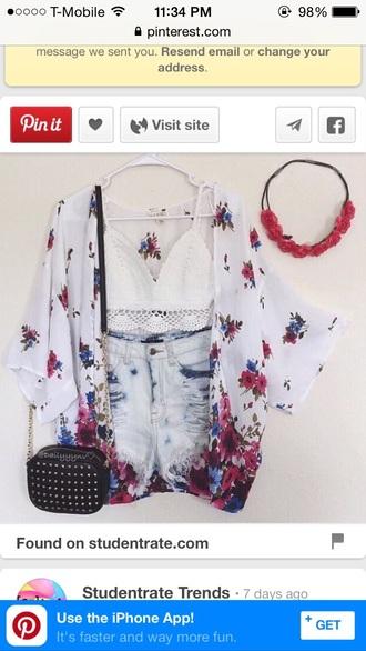 shorts ripped shorts high waisted shorts high waisted denim shorts kimono crop tops white crop tops bags and purses black purse floral kimono cardigan