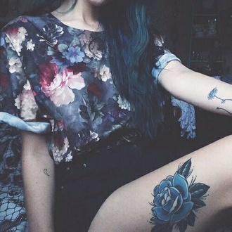 blouse flower shirt floral tattoo