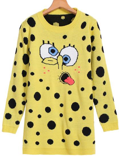 Spongebob print loose knit sweater