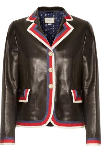 blazer leather black jacket