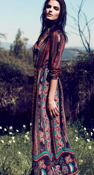 dress boho long sleeve dress maxi dress patterned dress folk bohemian