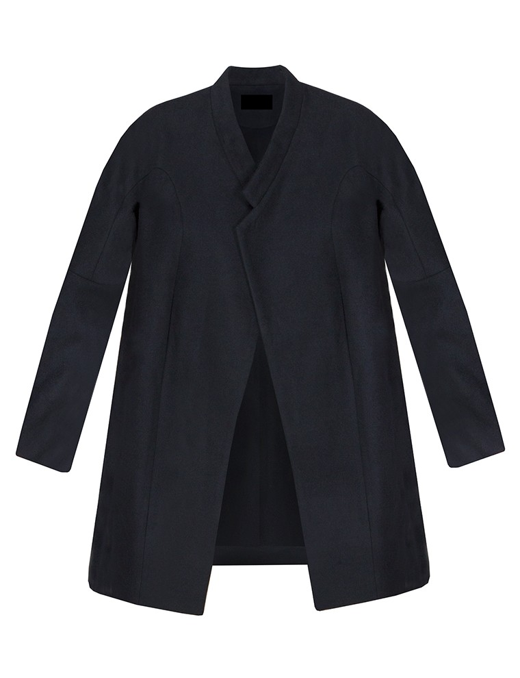 Navy cocoon boyfriend coat