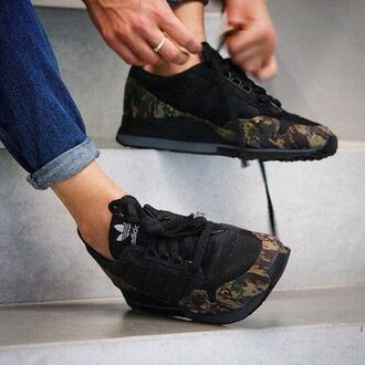 shoes adidas camouflage trainers black