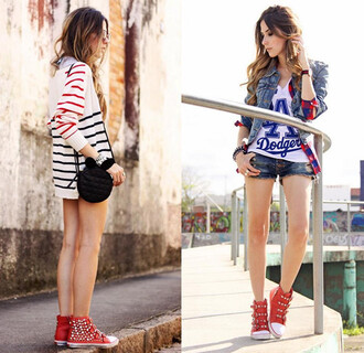 shoes red shoes red sneakers high top rivets stud sneaker