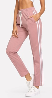 pants,girly,girl,girly wishlist,pink,joggers,joggers pants,track pants,white,stripes