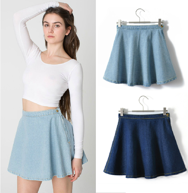 New Women's Vintage High Waist Denim A line Skirt Bust Skirt Short ...