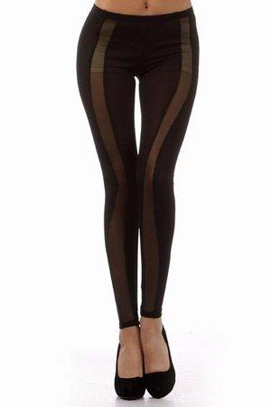 Style Vertical Sheer Fishnet Mesh Panel Legging Fitted Tight Pant ...