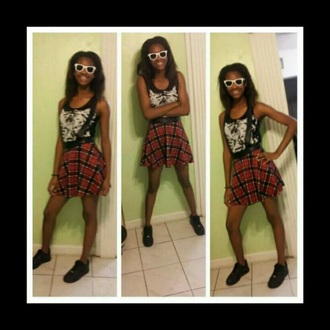 shirt black tank top overall skirt plaid black air forces