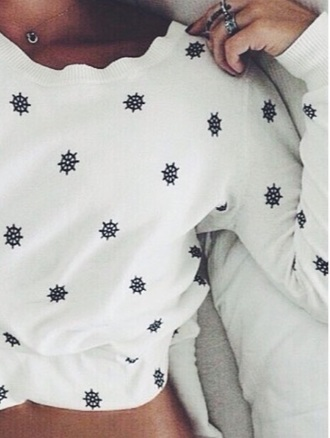 sweater anchor sea white black teenagers tan fashion jumper cold hot cotton pattern long sleeves thin