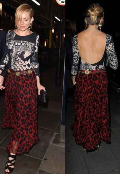 sienna miller body red maxi skirt silk skirt pleated skirt flower print skirt snake print body animal print backless body open back body animal print body